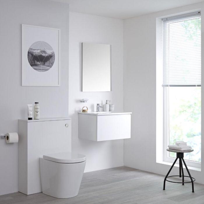 Meuble lavabo suspendu et meuble WC avec cuvette à poser – 60 cm – Blanc - Newington