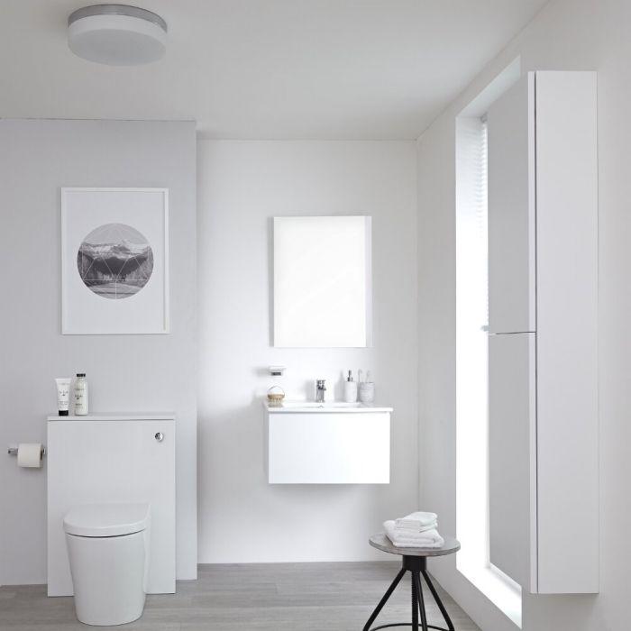 Ensemble meuble salle de bain - Lavabo suspendu - Meuble WC - Cuvette WC à poser - Colonne de rangement - Miroir – 60 cm – Blanc mat – Newington
