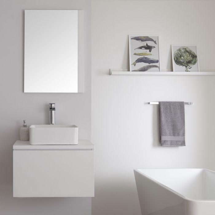 Meuble salle de bain suspendu avec vasque à poser carrée – Blanc – 60 cm – Newington