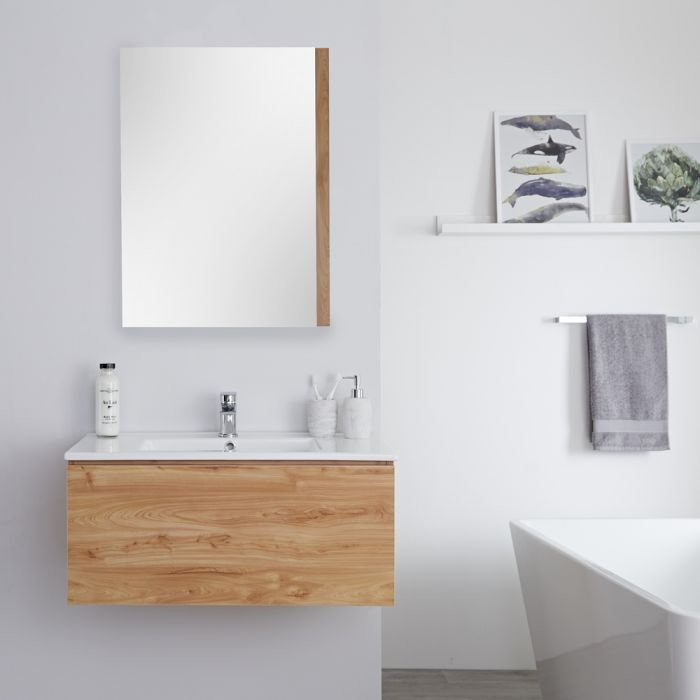 Meuble lavabo suspendu - 80cm - Effet chêne doré - Newington