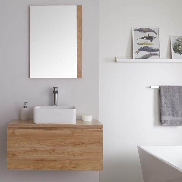 Meuble sous lavabo suspendu avec vasque à poser – Effet chêne doré – 80 cm – Newington