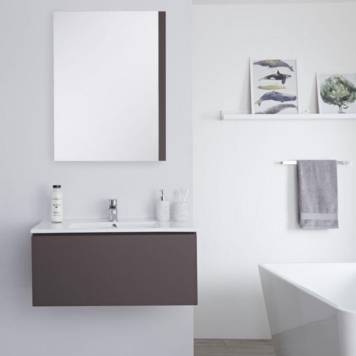 Meuble lavabo suspendu avec lavabo – Gris – 80 cm - Newington