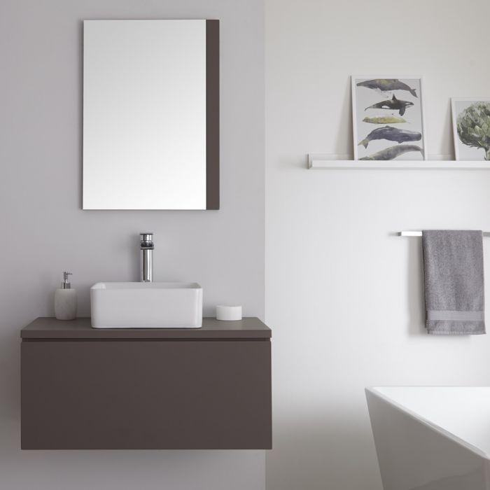 Meuble sous lavabo suspendu avec vasque à poser – Gris – 80 cm – Newington