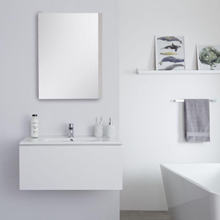 Meuble lavabo suspendu avec lavabo – Blanc – 80 cm - Newington