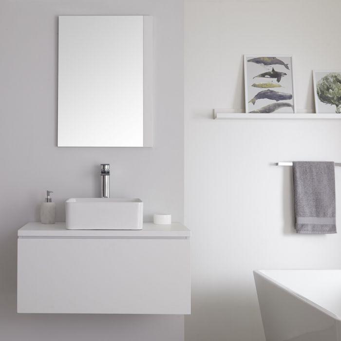 Meuble sous lavabo suspendu avec vasque à poser – Blanc – 80 cm – Newington