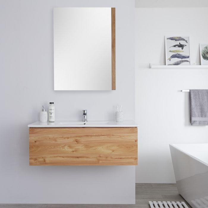 Meuble lavabo suspendu avec lavabo – Effet chêne doré – 100 cm - Newington