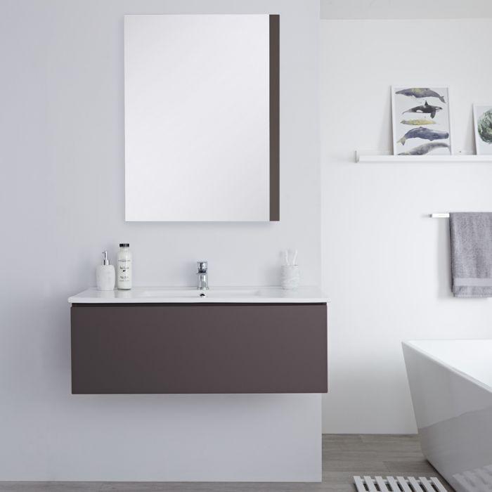 Meuble lavabo suspendu avec lavabo – Gris mat – 100 cm - Newington