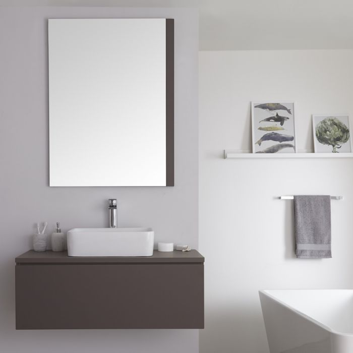 Meuble sous lavabo suspendu avec vasque à poser – Gris mat – 100 cm – Newington