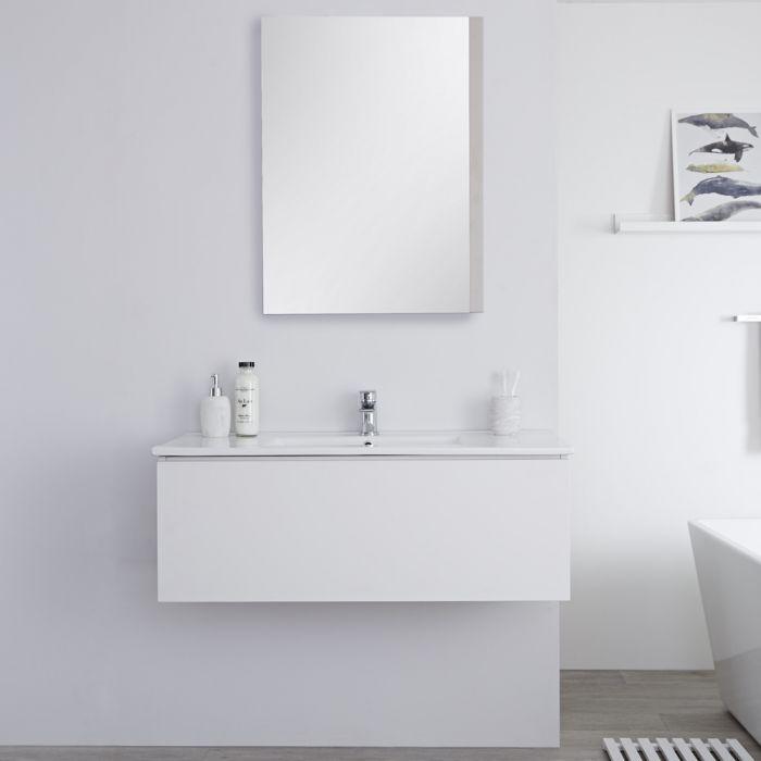 Meuble lavabo suspendu avec lavabo – Blanc – 100 cm - Newington