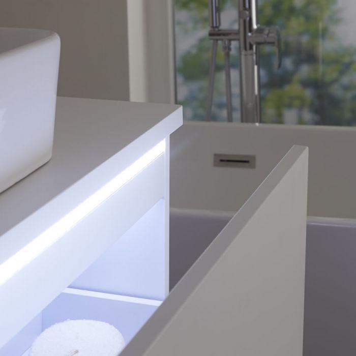 Meuble sous lavabo suspendu avec vasque à poser – Blanc – 100 cm – Newington