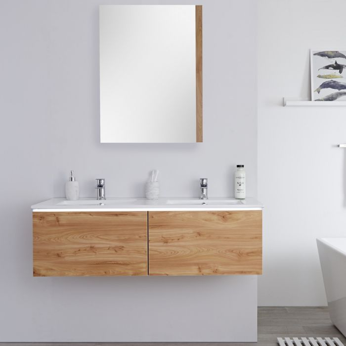 Meuble double vasque suspendu avec double plan vasque – Effet chêne doré – 120 cm - Newington