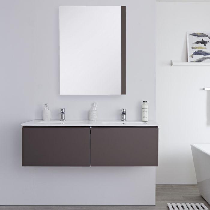 Meuble double vasque suspendu avec double plan vasque – Gris – 120 cm - Newington