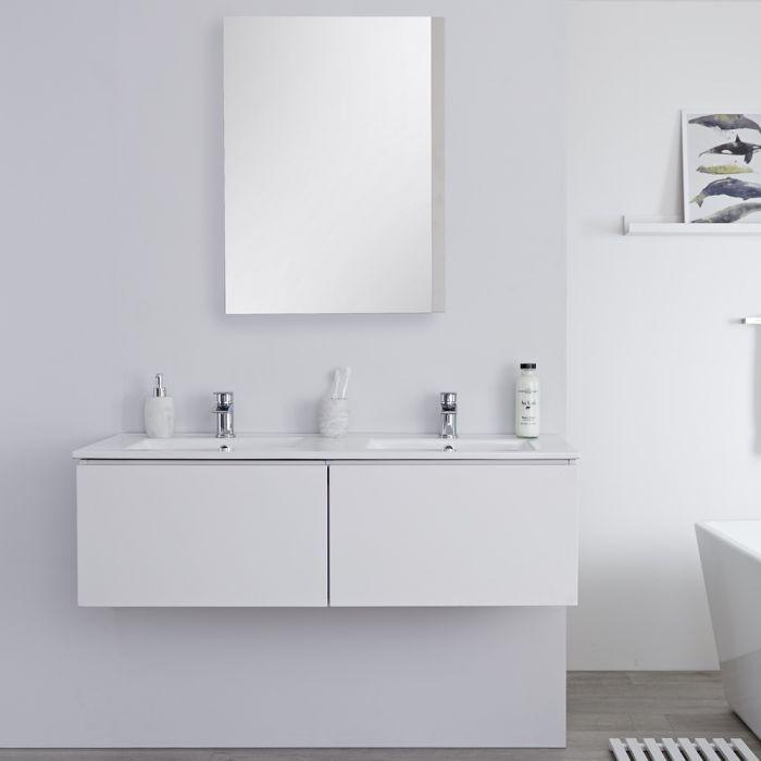 Meuble double vasque suspendu avec double plan vasque – Blanc – 120 cm - Newington