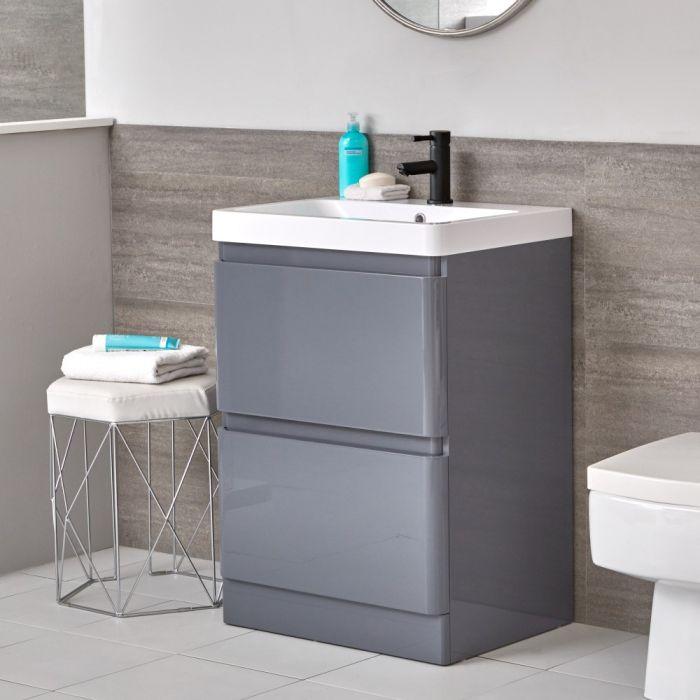 Meuble-lavabo gris – 60 cm – Plan vasque en résine - Daxon