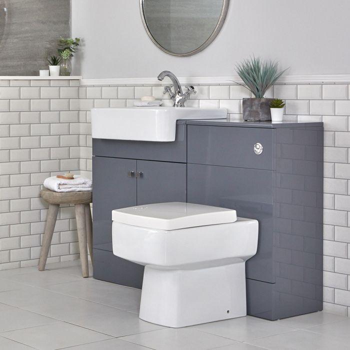 Meuble-lavabo et pack WC – Gris – 117 cm – Atticus