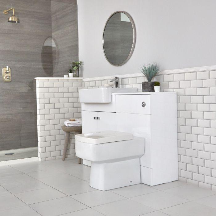 Meuble-lavabo et pack WC – Blanc – 117 cm - Atticus