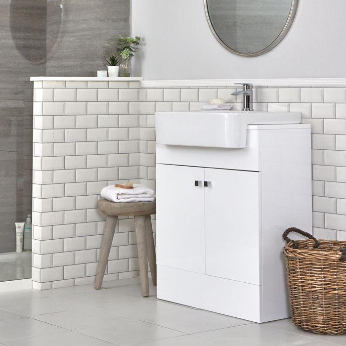 Meuble-lavabo blanc – 67 cm – Lavabo en céramique - Atticus