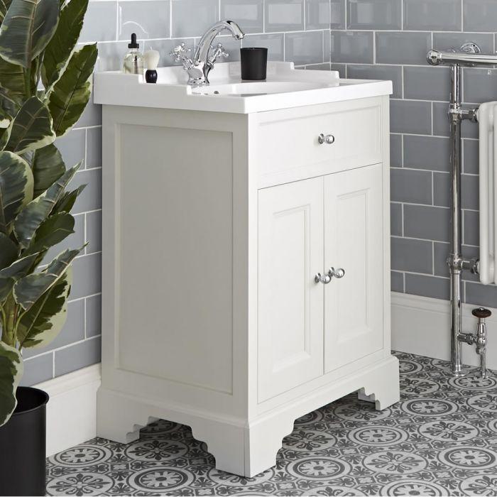 Meuble lavabo rétro avec vasque – 63 cm – Blanc crème - Thornton