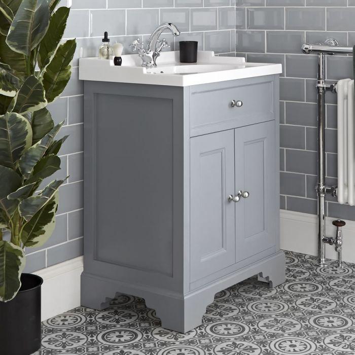 Meuble lavabo rétro avec vasque – 63 cm – Gris clair - Thornton