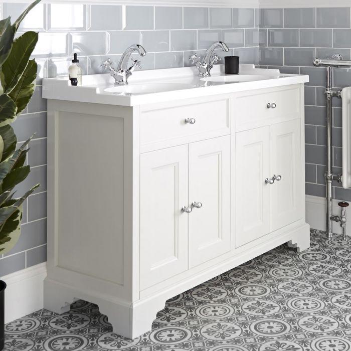 Meuble lavabo rétro avec double vasques – 120 cm – Blanc crème - Thornton