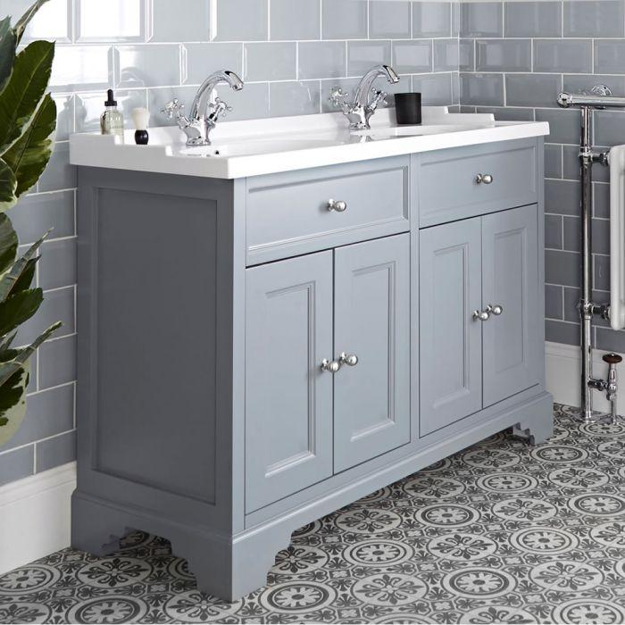 Meuble lavabo rétro avec double vasques – 120 cm – Gris clair - Thornton