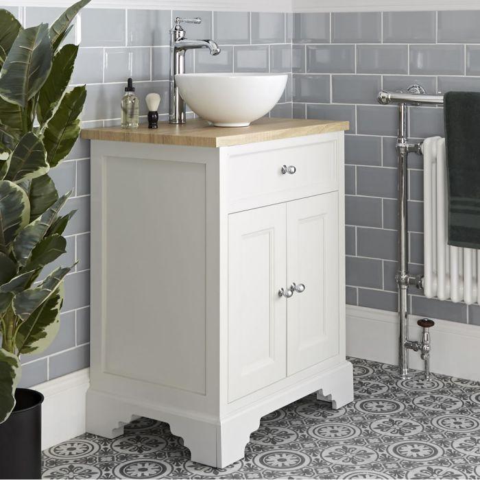 Meuble sous lavabo rétro avec vasque à poser – 64,5 cm – Blanc crème - Thornton