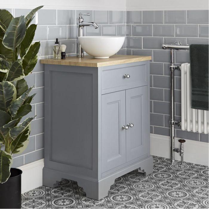 Meuble sous lavabo rétro avec vasque à poser – 64,5 cm – Gris clair - Thornton