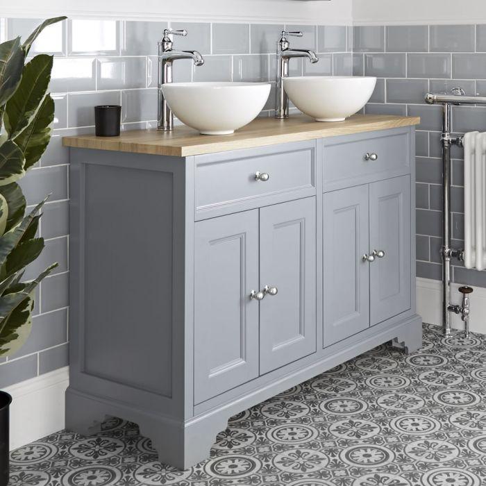 Meuble double vasque rétro avec vasques à poser – 120 cm – Gris clair - Thornton