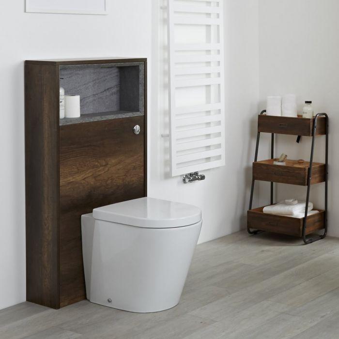 Meuble WC avec WC à poser – 60 cm – Chêne foncé - Hoxton