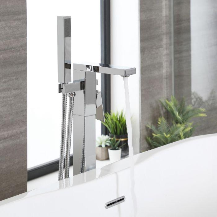 Mitigeur bain douche îlot moderne avec douchette – Chromé - Kubix