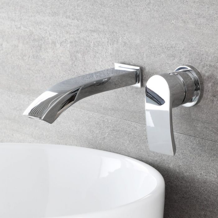 Vasque à poser rectangulaire - 48 x 37 cm - Alswear & Mitigeur mural - Razor