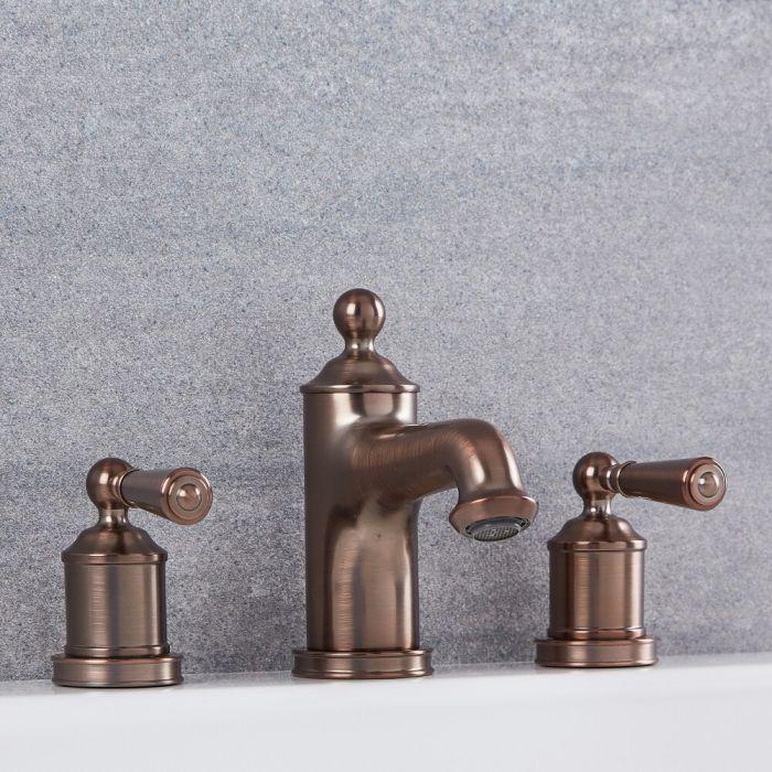 Robinet lavabo rétro – 3 trous de robinetterie – Bronze huilé - Colworth