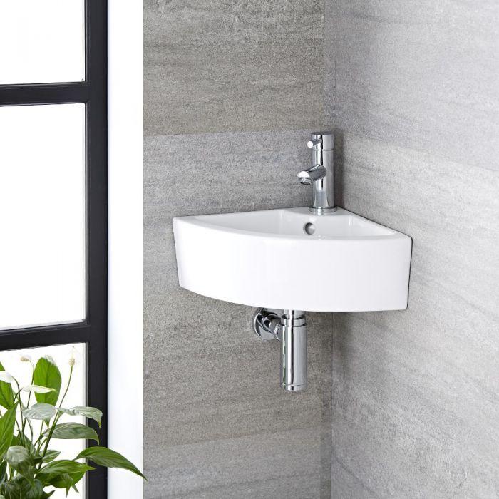 Vasque d'angle suspendue - 46 x 32 cm - Belstone & Mitigeur - Como