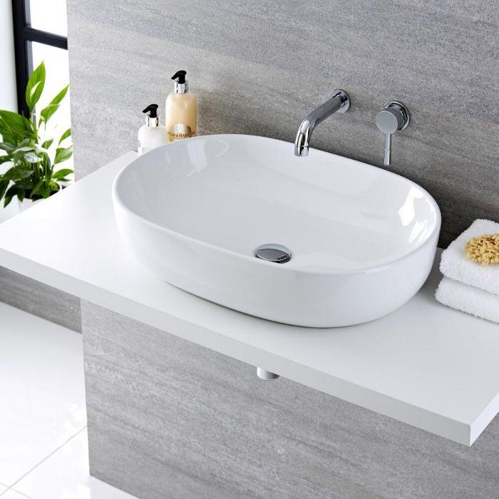 Vasque à poser ovale - 59 x 41 cm - Otterton & Mitigeur mural - Como