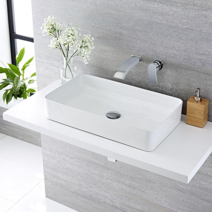 Vasque à poser rectangulaire - 61 x 35 cm - Alswear & Mitigeur mural - Razor