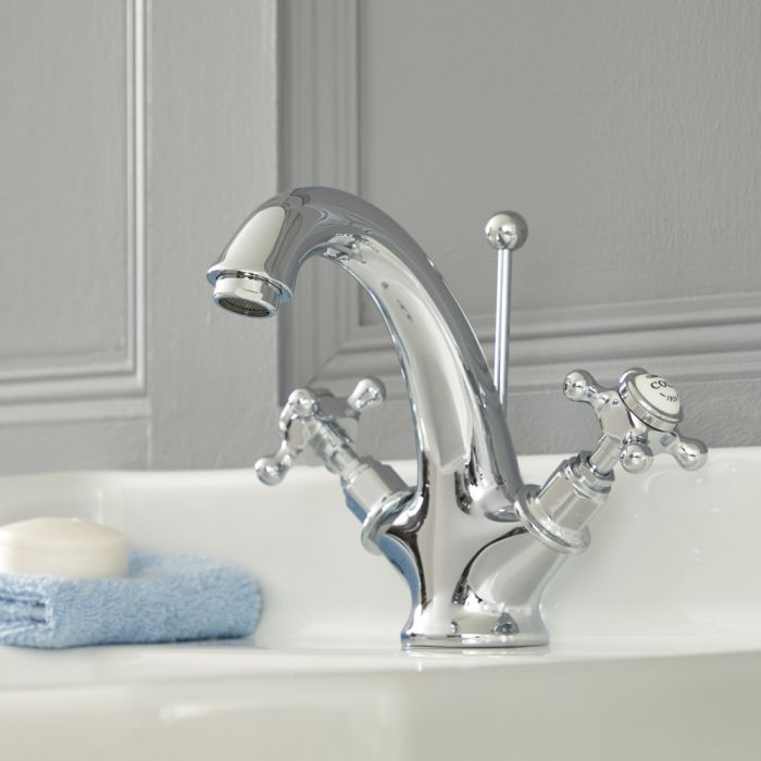 Mélangeur lavabo rétro – Commandes croisillon – Chromé et blanc - Elizabeth