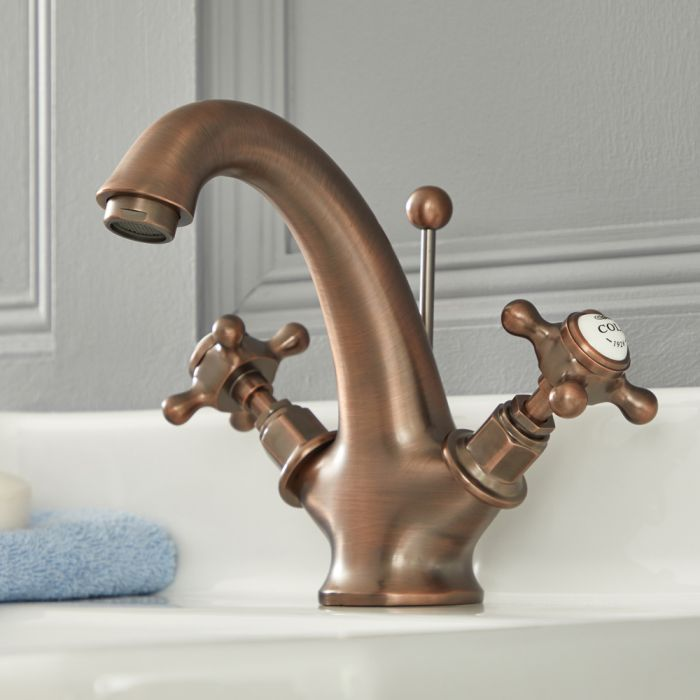 Mitigeur lavabo rétro - Commandes en croisillon – Bronze huilé – Elizabeth