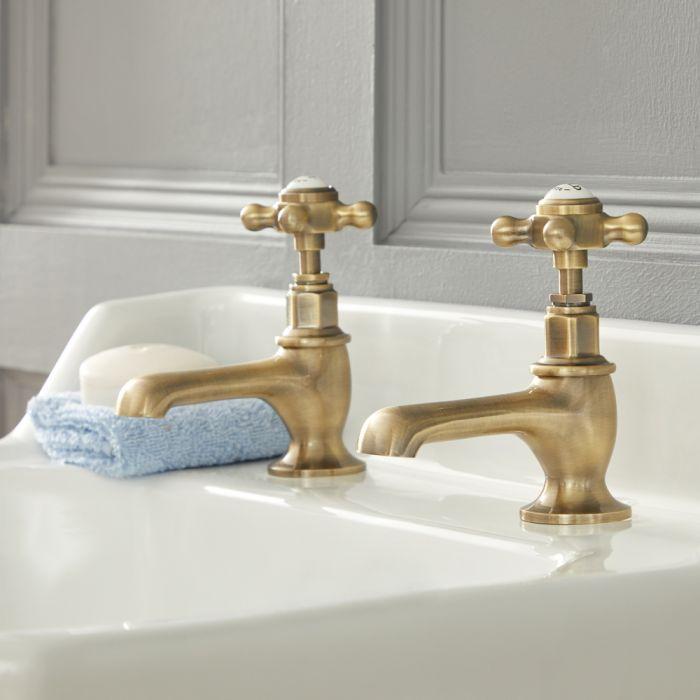 Paire de robinets lavabo rétro à commandes croisillons – Or brossé – Elizabeth