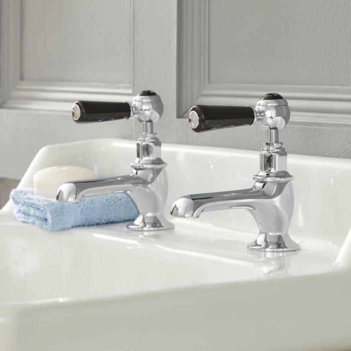 Robinets lavabo rétro - Commandes à levier – Chromé et Noir - Elizabeth