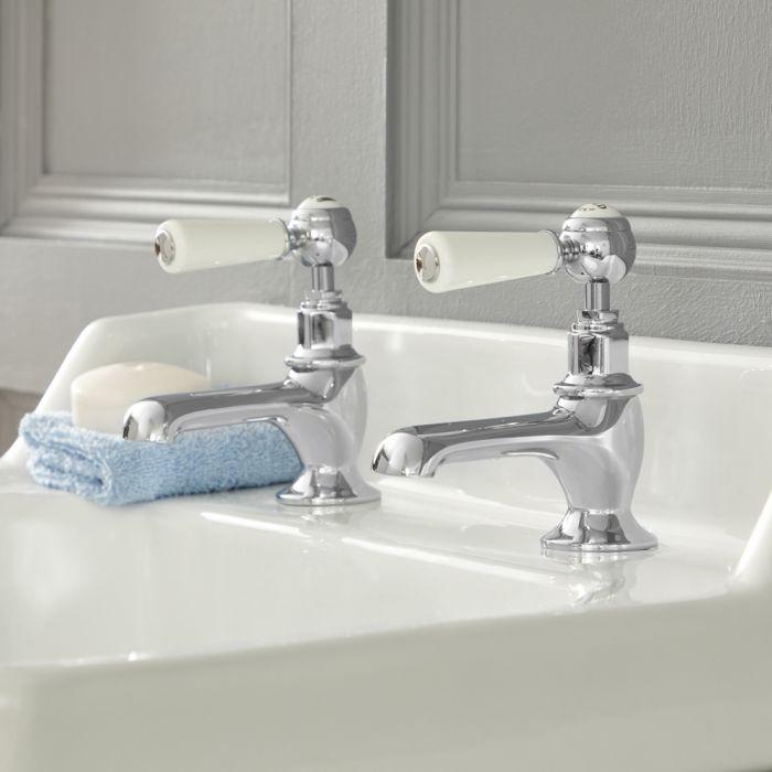 Paire de robinets rétro à leviers – Chromé et blanc - Elizabeth