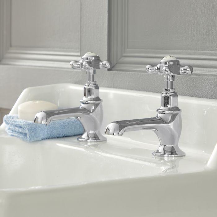 Paire de robinets lavabo rétro à poignées en croisillon – Chromé et Blanc - Elizabeth