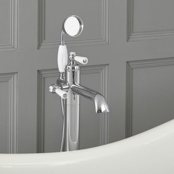 Mitigeur bain douche baignoire îlot – Commande levier - Chromé et blanc – Elizabeth