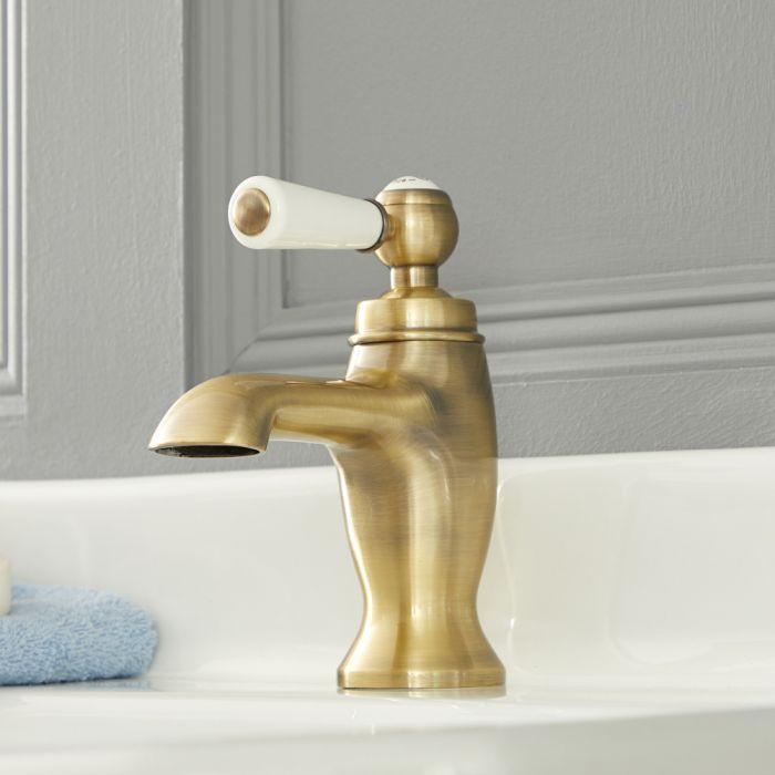 Mitigeur lavabo monotrou rétro – Commande levier - Or brossé – Elizabeth