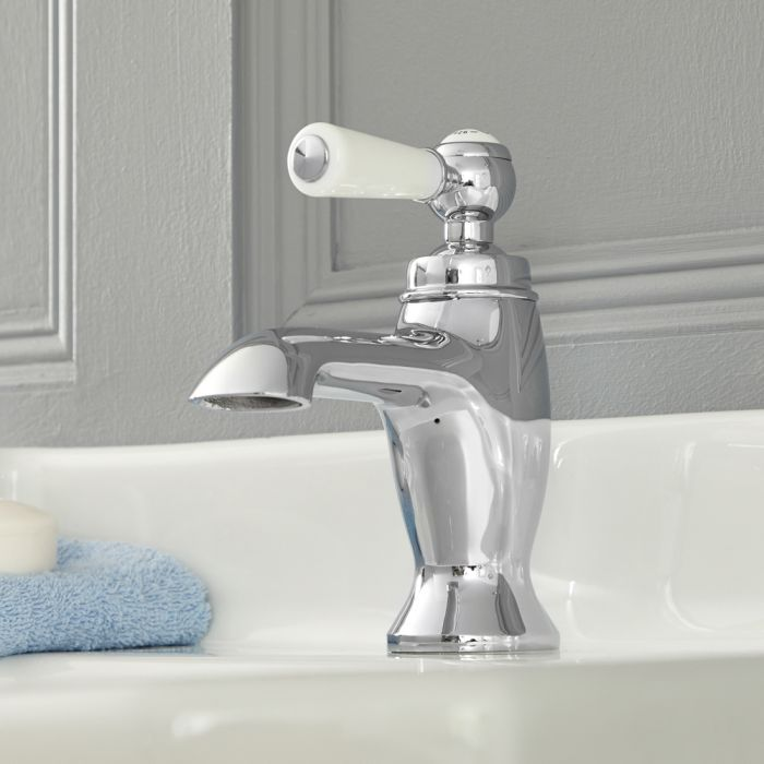 Mitigeur lavabo monotrou rétro – Commande levier – Chromé et blanc - Elizabeth