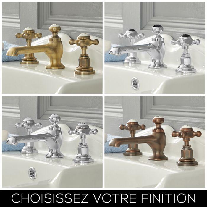 Mélangeur lavabo rétro - Croisillon - 3 trous - Choix de finitions – Elizabeth