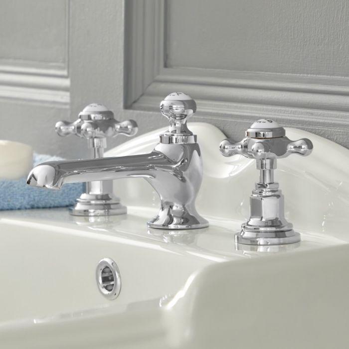 Mélangeur lavabo 3 trous – Commandes croisillons - Chromé et blanc - Elizabeth