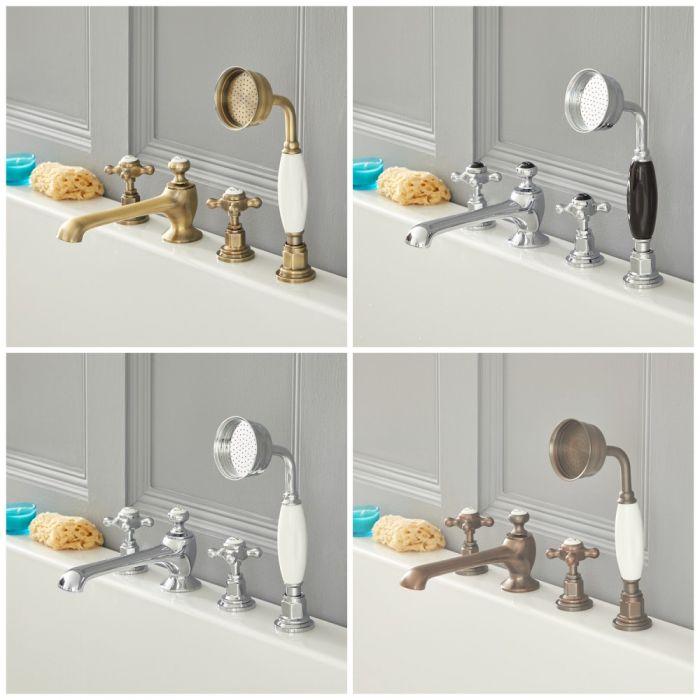 Mélangeur baignoire douche rétro à croisillon - 4 trous - choix de finitions - Elizabeth