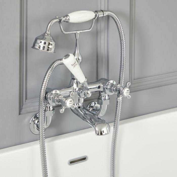 Mélangeur bain douche mural rétro – Commandes croisillons – Chromé et blanc - Elizabeth