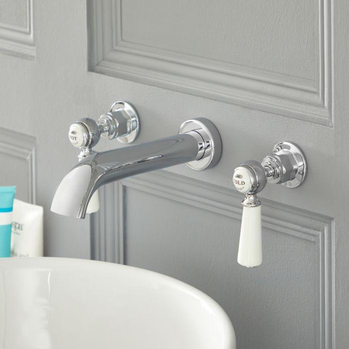 Mélangeur lavabo mural rétro à 3 trous – Commandes leviers – Chromé et blanc - Elizabeth
