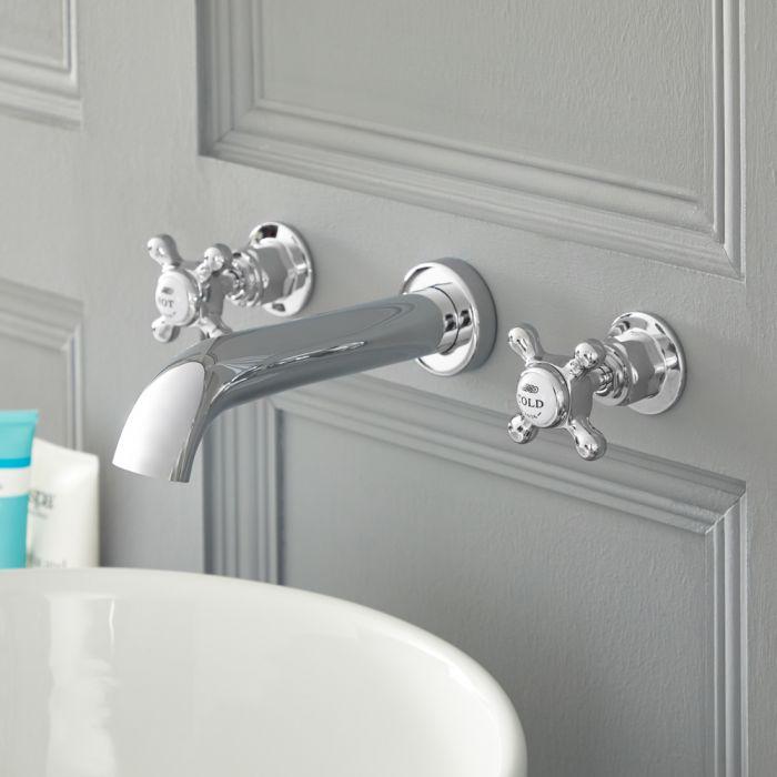 Mélangeur lavabo mural rétro à 3 trous – Commandes croisillons – Chromé et blanc - Elizabeth